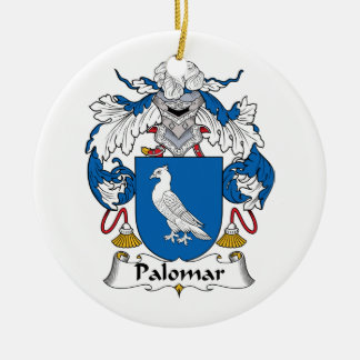 Palomar Family Crest Double-Sided Ceramic Round Christmas Ornament