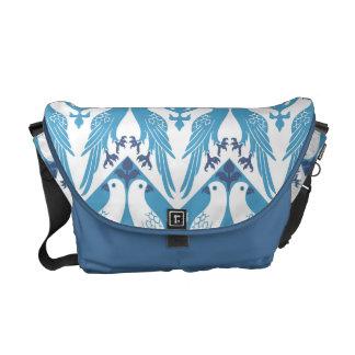 Palomas azules y blancas bolsas messenger
