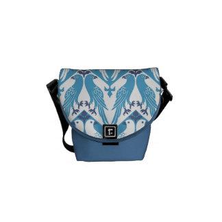 Palomas azules y blancas bolsa de mensajería