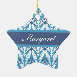 Palomas azules y blancas adorno de cerámica en forma de estrella