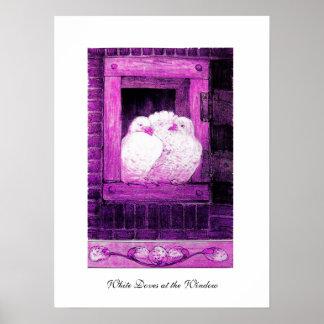 PALOMAS BLANCAS EN LA VENTANA, violeta púrpura Póster