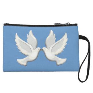Palomas blancas personalizadas en el monedero azul