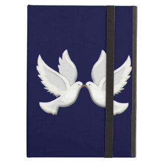 Palomas blancas personalizadas en la caja azul del