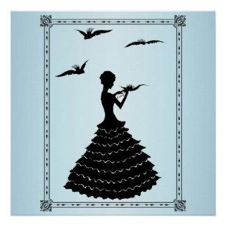 Palomas de la letra de amor de señora Silhouette d Perfect Poster