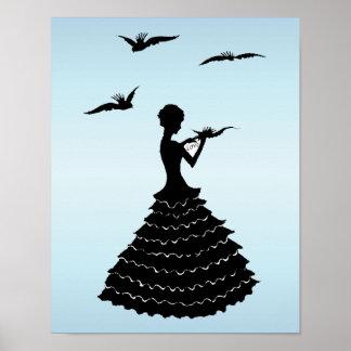 Palomas de la letra de amor de señora Silhouette d Póster