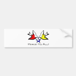 Palomas de la paz - diseño cristiano moderno pegatina para auto