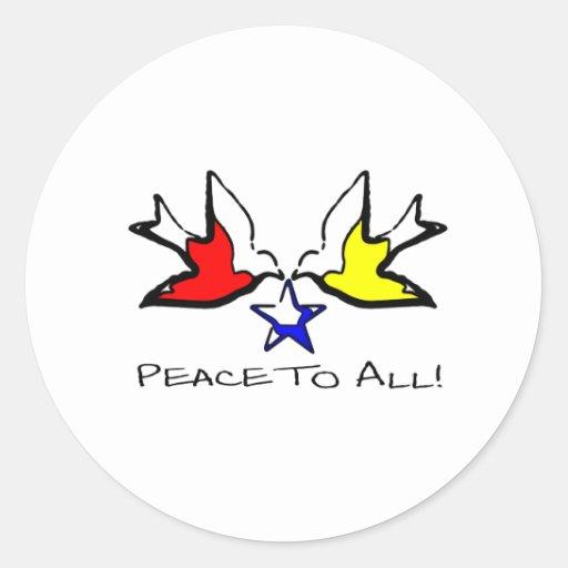 Palomas de la paz - diseño cristiano moderno pegatina redonda