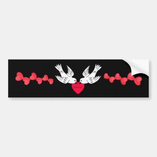 Palomas de los corazones del amor de la paz pegatina para auto