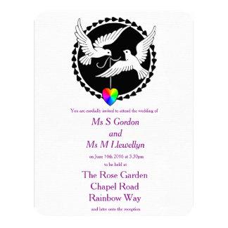 """Palomas del amor del corazón del arco iris invitación 4.25"""" x 5.5"""""""
