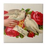 Palomas del amor del Victorian de los pájaros del  Azulejos Cerámicos