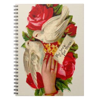 Palomas del amor del Victorian de los pájaros del  Note Book