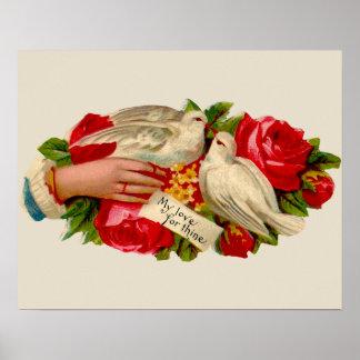 Palomas del amor del Victorian de los pájaros del Posters