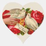 Palomas del amor del Victorian de los pájaros del Calcomania Corazon
