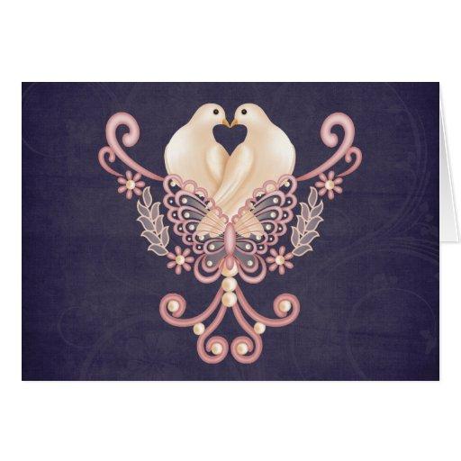Palomas del amor tarjeta de felicitación