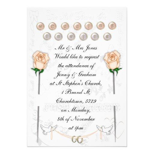 Palomas del boda comunicado personalizado