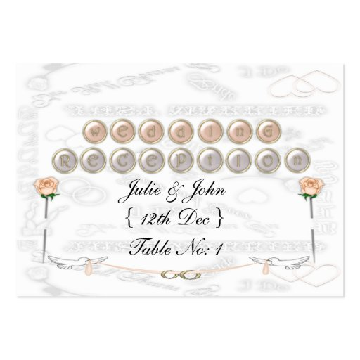 Palomas del boda tarjetas de visita grandes