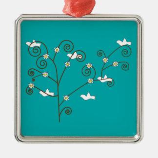 Palomas en un ornamento del árbol adorno para reyes