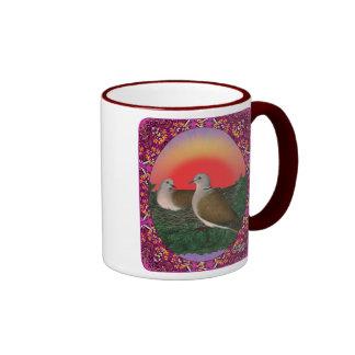 Palomas enmarcadas taza de dos colores