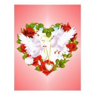 Palomas lindas rosas rojos corazón membretes personalizados