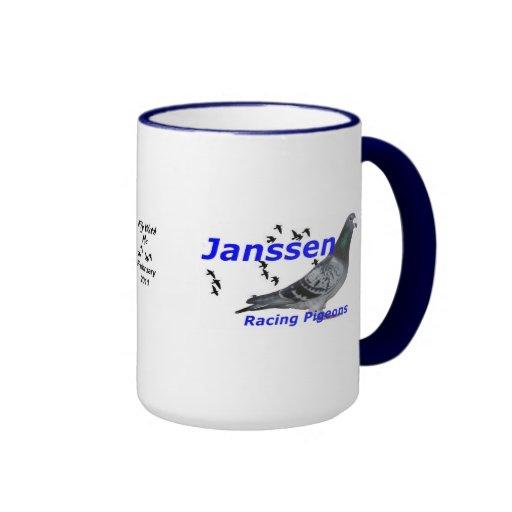 Palomas que compiten con de Janssen de la serie co Tazas De Café