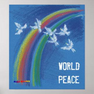 Palomas que vuelan de la paz de mundo el | póster