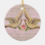 Palomas románticas en collage del vintage del amor adorno