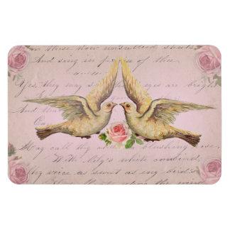 Palomas románticas en collage del vintage del amor iman flexible