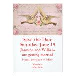 Palomas románticas en collage del vintage del amor invitación 12,7 x 17,8 cm