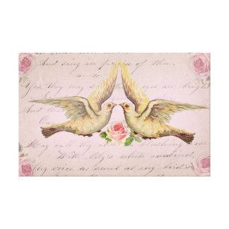 Palomas románticas en collage del vintage del amor impresión en lona