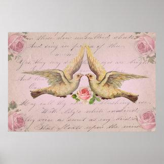 Palomas románticas en collage del vintage del amor posters