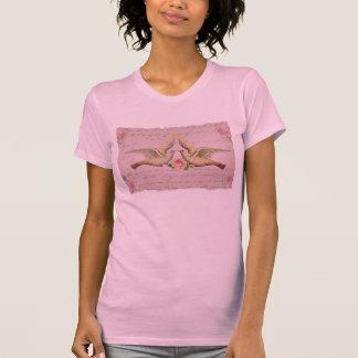 Palomas románticas en collage del vintage del amor camiseta