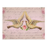 Palomas románticas en collage del vintage del amor postal