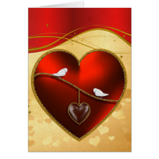 Palomas y corazón rojo de rubíes tarjeta de felicitación