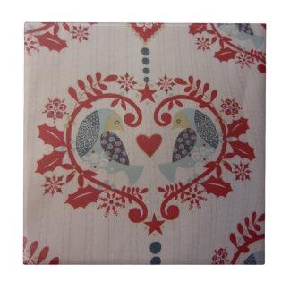 Palomas y corazones -- Dialecto de Pennsylvania Azulejo Cuadrado Pequeño