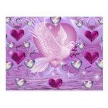 Palomas y corazones tarjetas postales