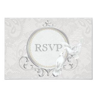 """Palomas y cordón blancos de Paisley que casa RSVP Invitación 3.5"""" X 5"""""""