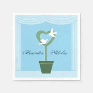 Palomas y servilletas blancas del boda del Topiary Servilleta Desechable