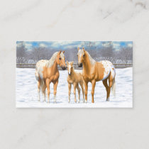 Palomino Appaloosa Horses In Snow Business Card