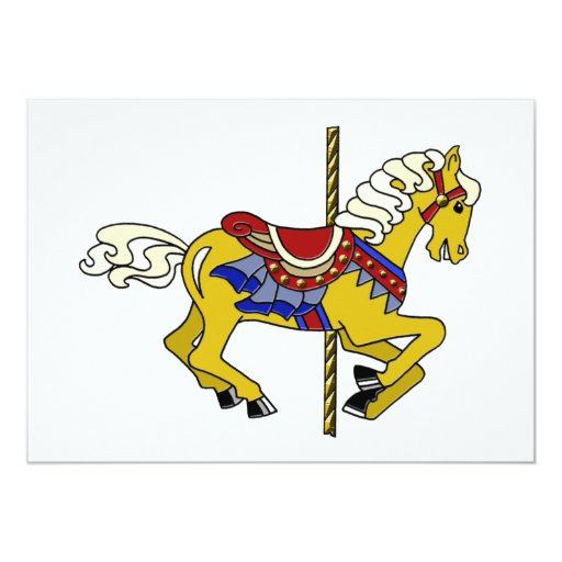 Palomino Carousel Horse 5x7 Paper Invitation Card