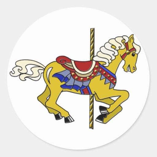 Palomino Carousel Horse Classic Round Sticker