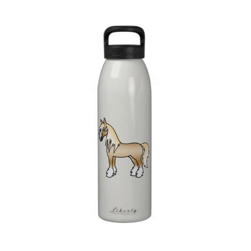 Palomino Cartoon Gypsy Vanner Shire Horse Reusable Water Bottles