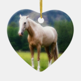 Palomino Dream Horse Double-Sided Heart Ceramic Christmas Ornament