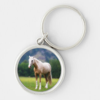 Palomino Dream Horse Silver-Colored Round Keychain