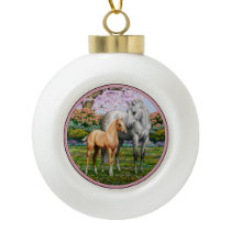 Palomino Foal and Gray Horse Ceramic Ball Christmas Ornament