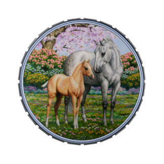 Palomino Foal and Gray Horse Jelly Belly Tin