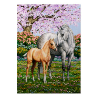 Palomino Foal and Gray Horse Large Business Cards (Pack Of 100)