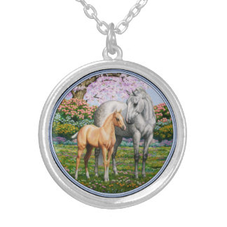 Palomino Foal and Gray Horse Silver Plated Necklace