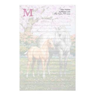 Palomino Foal and Gray Horse Stationery