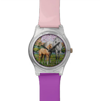 Palomino Foal and Gray Horse Wrist Watch