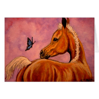 Palomino Foal & butterfly Greeting Cards
